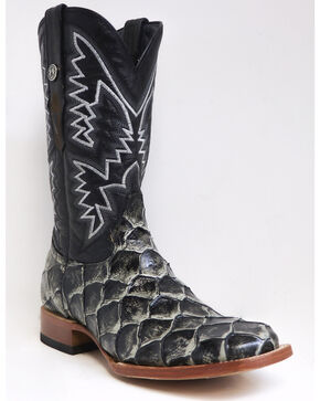 Tanner mark Men's Rustic Fish Print Western Boots - Square Toe, Black, hi-res