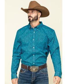 Cody James Core Men's Smokeshow Geo Print Long Sleeve Western Shirt , Turquoise, hi-res