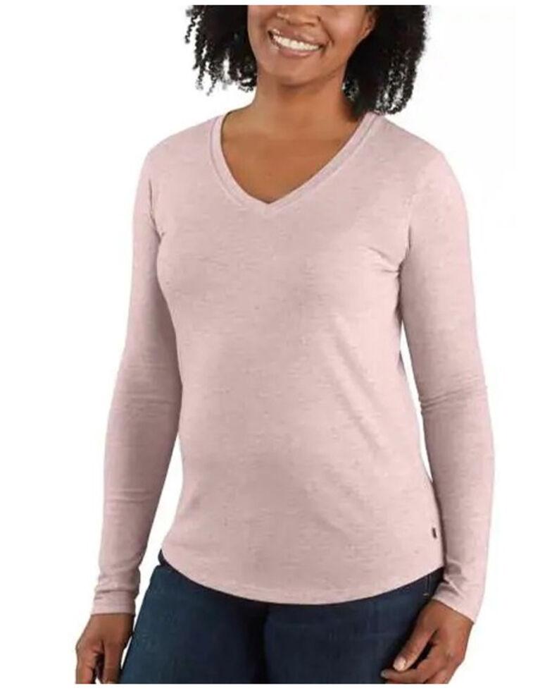 Carhartt Women's Rose Smoke Heather Relaxed Long Sleeve Work T-Shirt , , hi-res