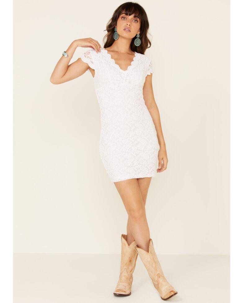 Panhandle Women's Cap Sleeve Lace Dress, White, hi-res