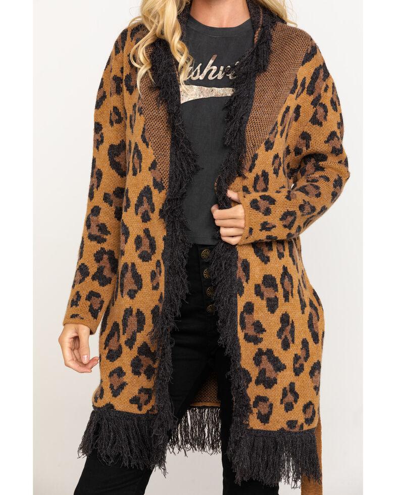 Miss Me Women's Leopard Fringe Belted Cardigan, Leopard, hi-res