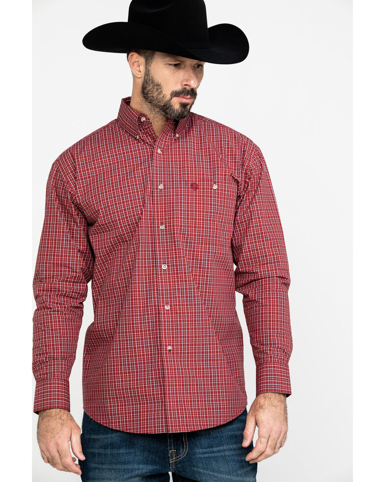 George Strait by Wrangler Men's Red Small Plaid Long Sleeve Western Shirt , Red, hi-res