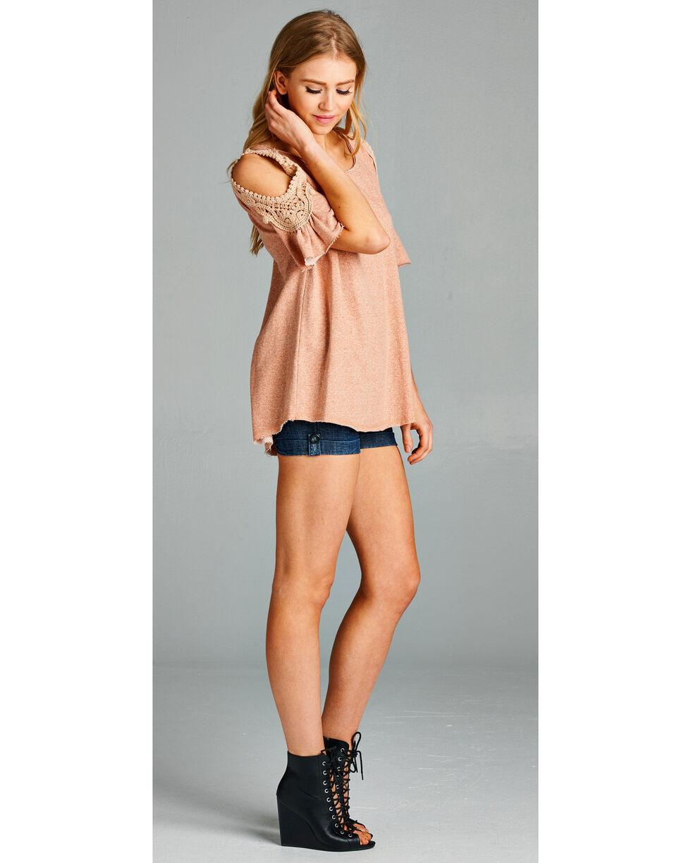 Hyku Women's Pink Crochet Lace Cold Shoulder Shirt , Pink, hi-res