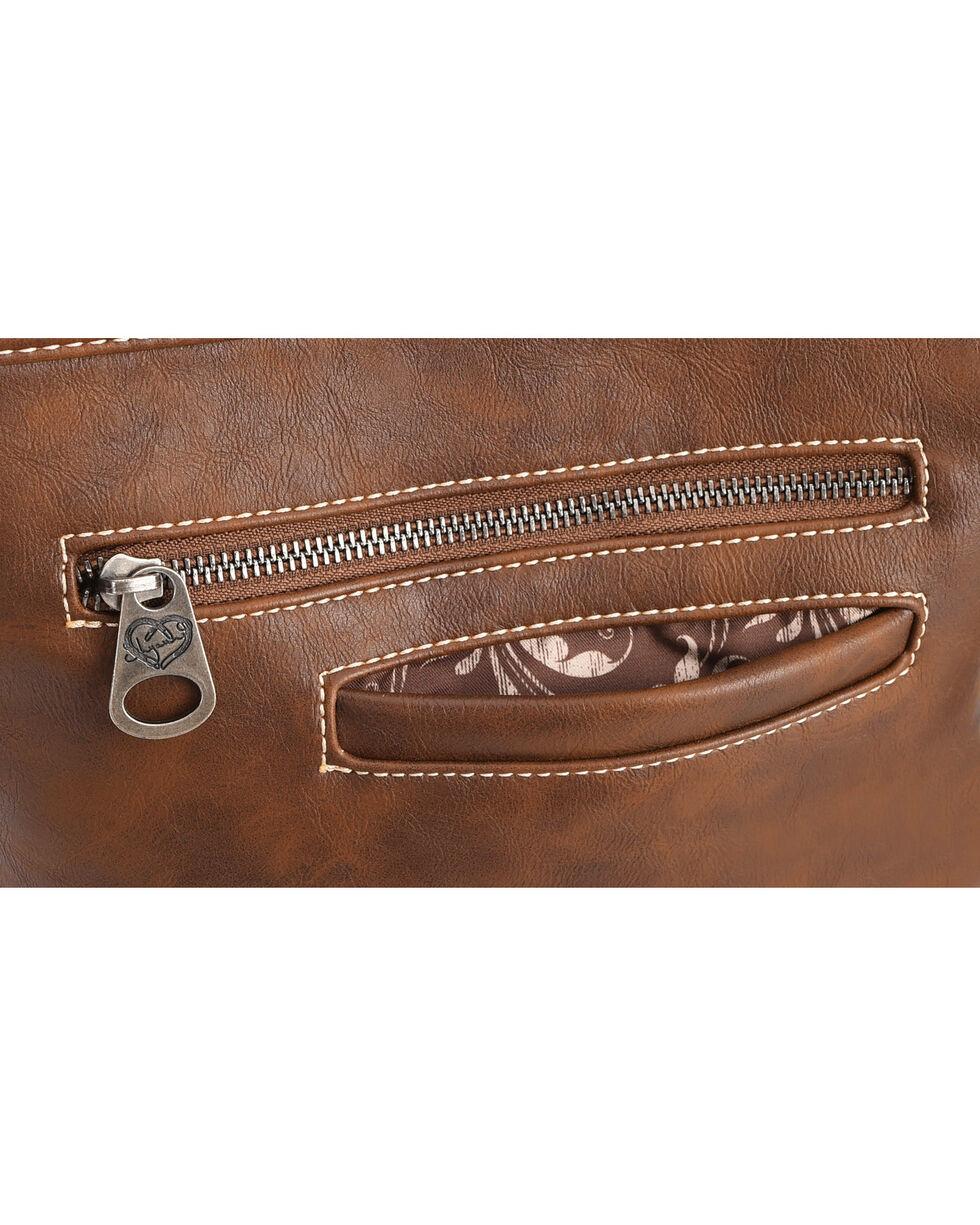 Shyanne Women's Tooled Hair-On Calf Patchwork Crossbody Bag, Dark Brown, hi-res