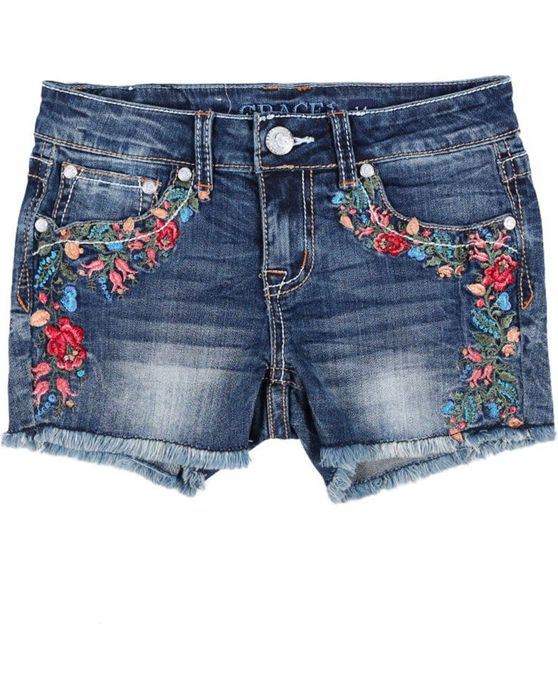 Grace in LA Girls' Floral Embroidered Stitch Shorts , Blue, hi-res