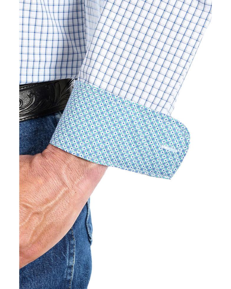 George Strait By Wrangler Men's Mini Check Plaid Button Long Sleeve Western Shirt , Blue/white, hi-res