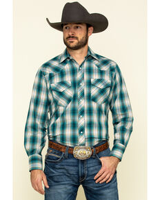 Roper Men's Classic Teal Plaid Long Sleeve Western Shirt , Green, hi-res
