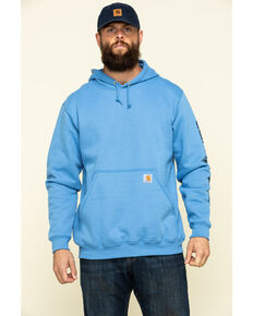 Carhartt Men's Blue Midweight Signature Sleeve Logo Hooded Work Sweatshirt, Blue, hi-res