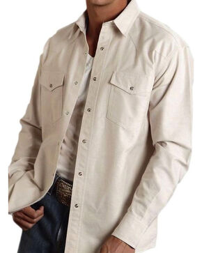 Roper Men's Solid Tan Oxford Long Sleeve Shirt, Tan, hi-res