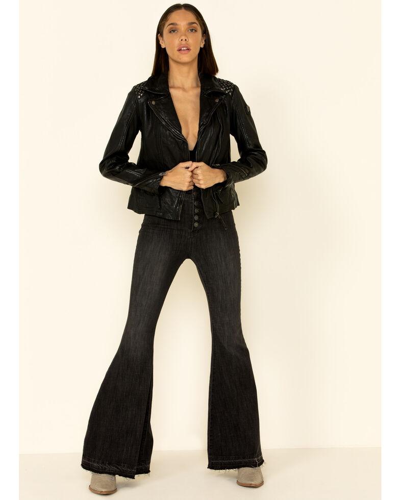 Mauritius Women's Happy Studded Shoulder Leather Jacket , Black, hi-res