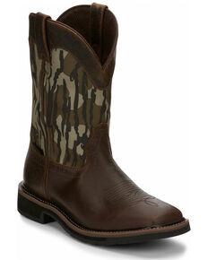 Justin Men's Trekker Waterproof Western Work Boots - Soft Toe, Brown, hi-res