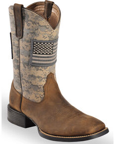 Ariat Men's Distressed Brown Sage Camo Sport Patriot Western Boots - Wide Square Toe , Brown, hi-res