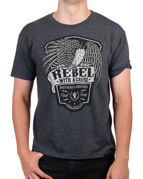 Brothers & Arms Men's Charcoal Rebel With A Cause T-Shirt , Charcoal, hi-res