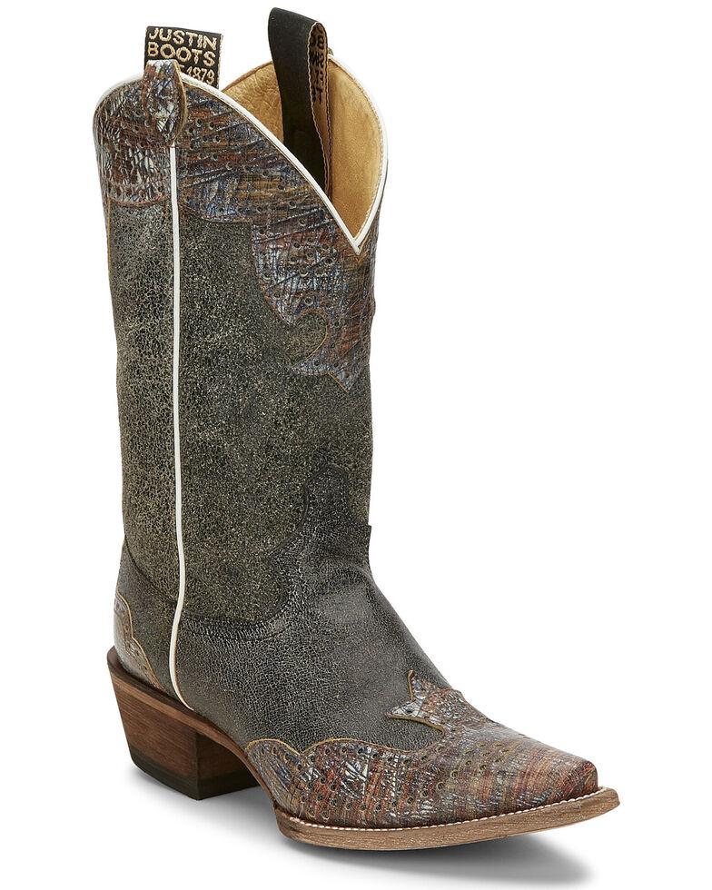 Justin Women's Vera Black Wingtip Western Boots - Narrow Square Toe, Black, hi-res