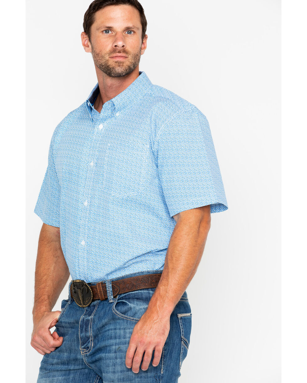 Cody James Men's Diamond Mine Short Sleeve Western Shirt, Royal Blue, hi-res