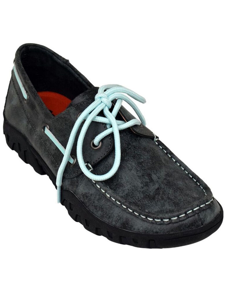 Ferrini Women's Smoky Black Loafer Shoes - Moc Toe, Black, hi-res