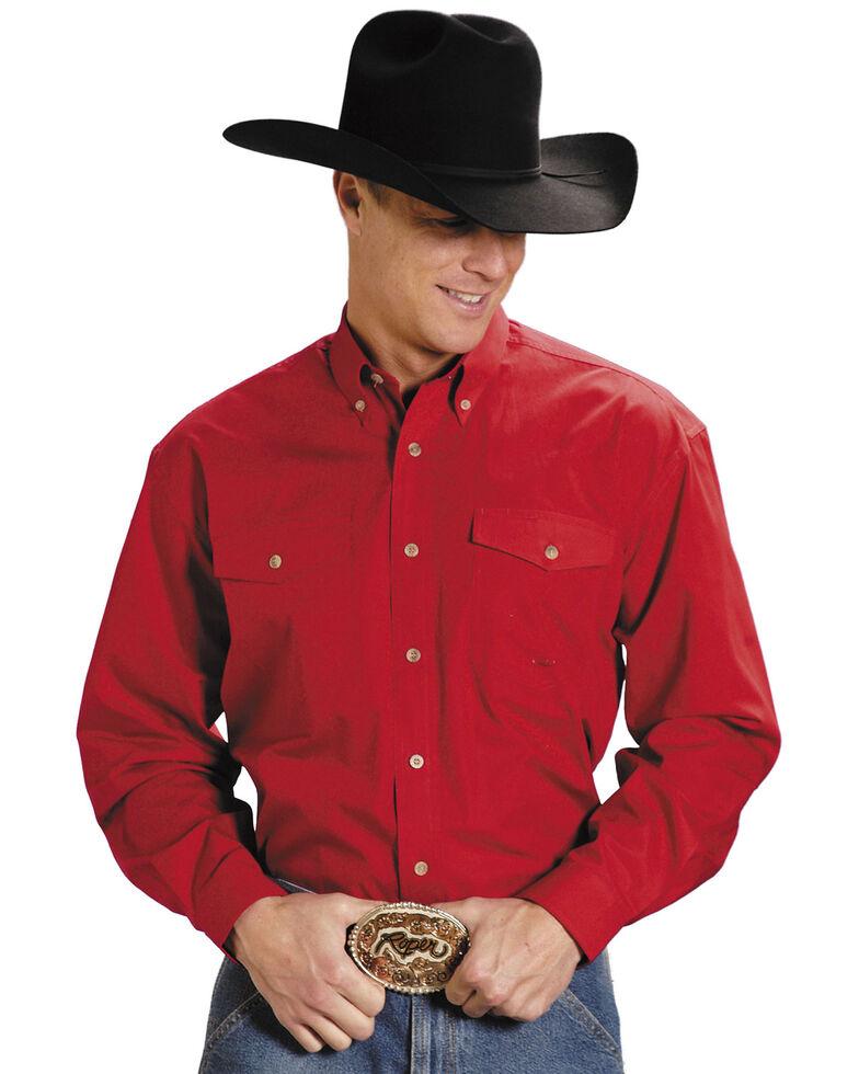 Roper Men's Solid Poplin Long Sleeve Western Shirt - Big & Tall, Red, hi-res