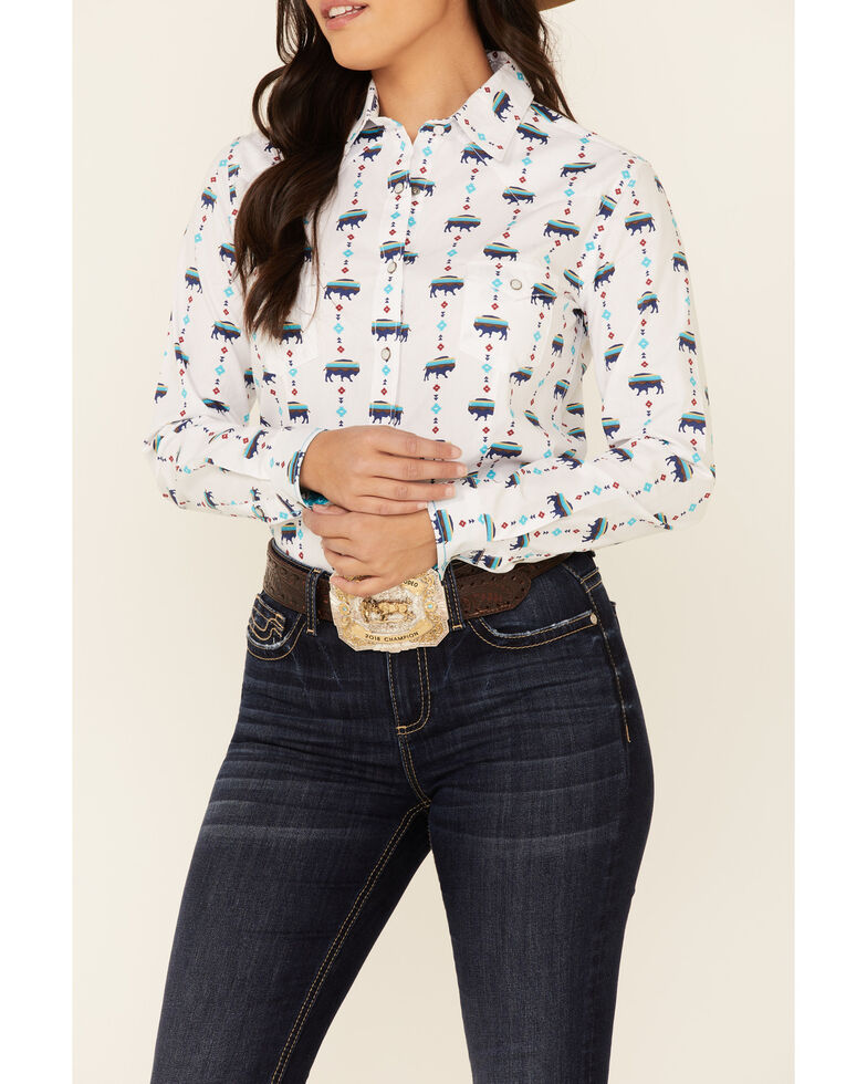 Rough Stock By Panhandle Women's Ivory Buffalo Print Long Sleeve Snap Western Core Shirt , Ivory, hi-res