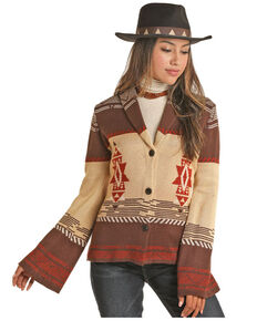 Powder River Outfitters Women's Rust Aztec Border Stagecoach Cardigan , Brown, hi-res