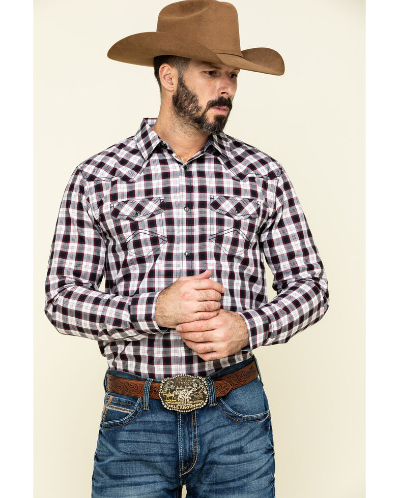 Cody James Men's Ulysses Small Plaid Long Sleeve Western Shirt , Red, hi-res