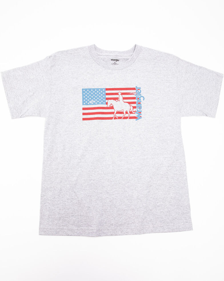 Wrangler Boys' Flag Horse American Flag Graphic T-Shirt , Grey, hi-res
