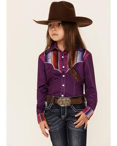 Ranch Dress'n Girls' Solid Purple Serape Yoke Snap Long Sleeve Performance Rodeo Shirt , Purple, hi-res