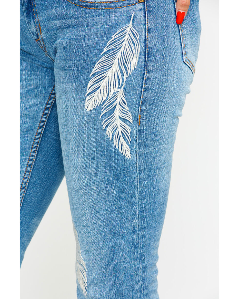 Rock & Roll Cowgirl Women's Feather Embroidery Jeans, Indigo, hi-res