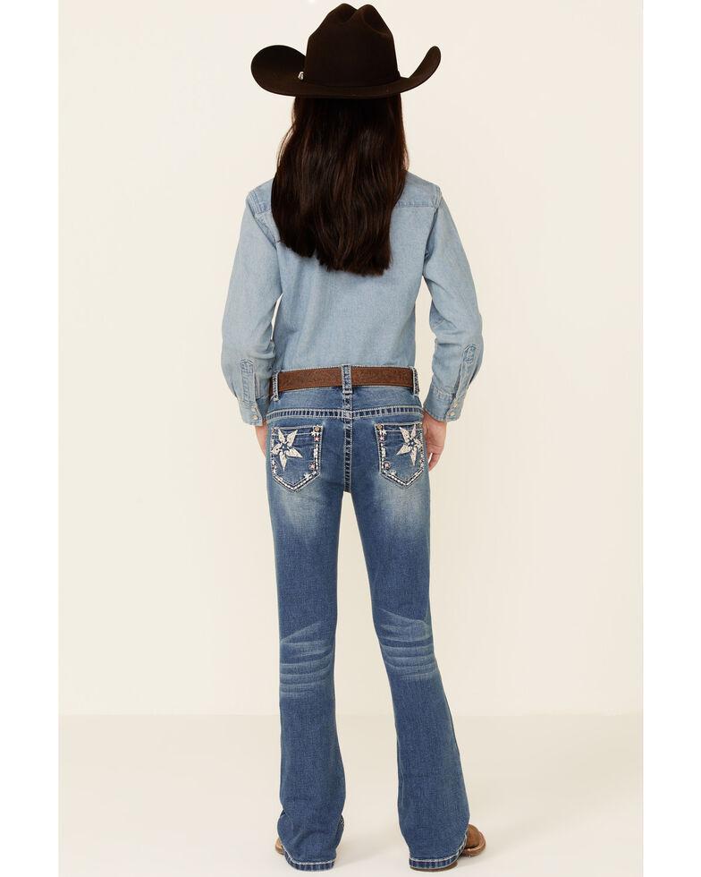 Shyanne Girls' Medium Wash Embroidered Star Pocket Embroidered Star Pocket Regular Bootcut Jeans - Big , Blue, hi-res