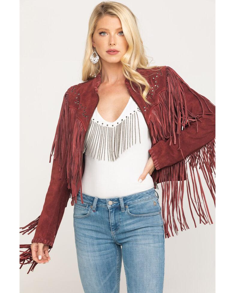 Idyllwind Women's Eye Catcher Leather Jacket, Red, hi-res
