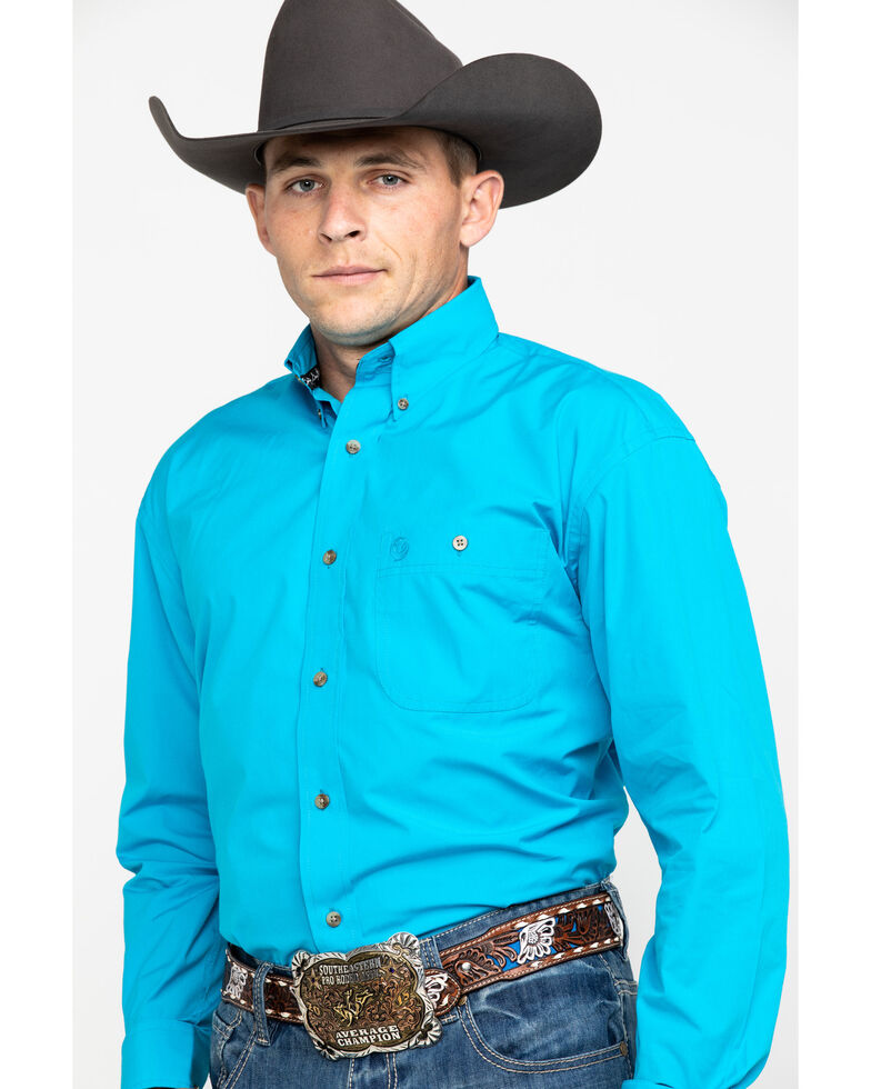 George Strait by Wrangler Men's Solid Long Sleeve Button Down Western Shirt, Green, hi-res