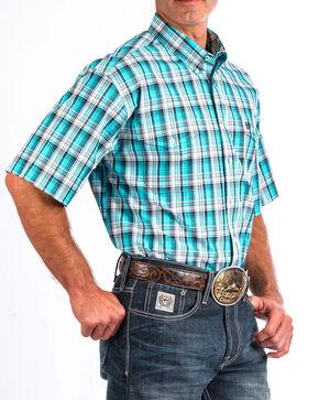 Cinch Men's Turquoise Plaid Short Sleeve Double Pocket Shirt , Turquoise, hi-res
