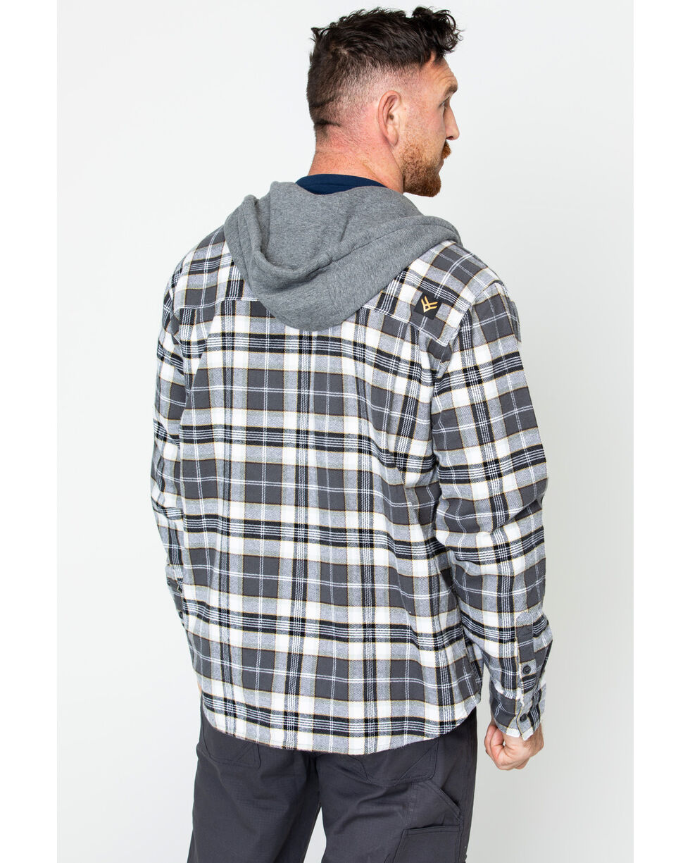 Hawx® Men's Plaid Long Sleeve Hooded Work Flannel Shirt , Grey, hi-res