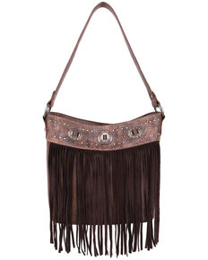 Montana West Women's Fringe Shoulder Tote Bag, Brown, hi-res