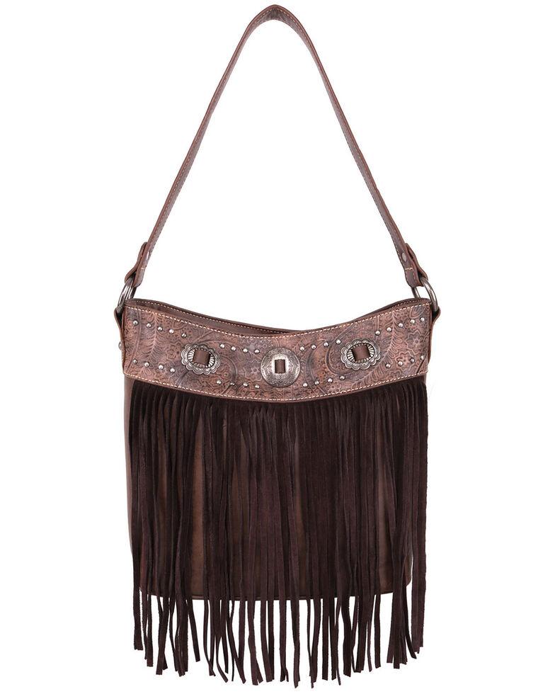 Montana West Women's Fringe Shoulder Tote Bag, Brown, hi-res