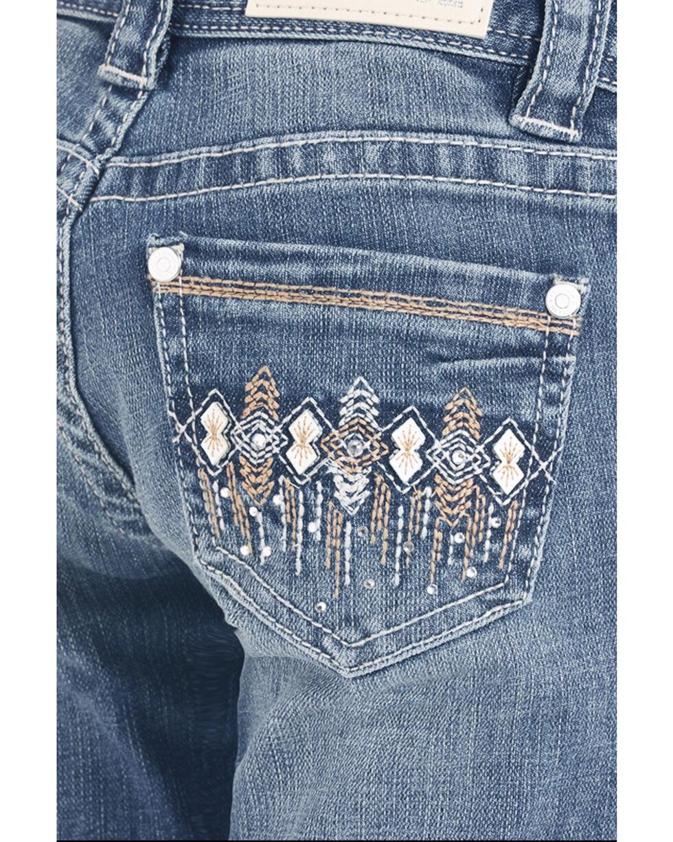Rock & Roll Cowgirl Girls' Light Wash Aztec Pocket Bootcut Jeans, Blue, hi-res