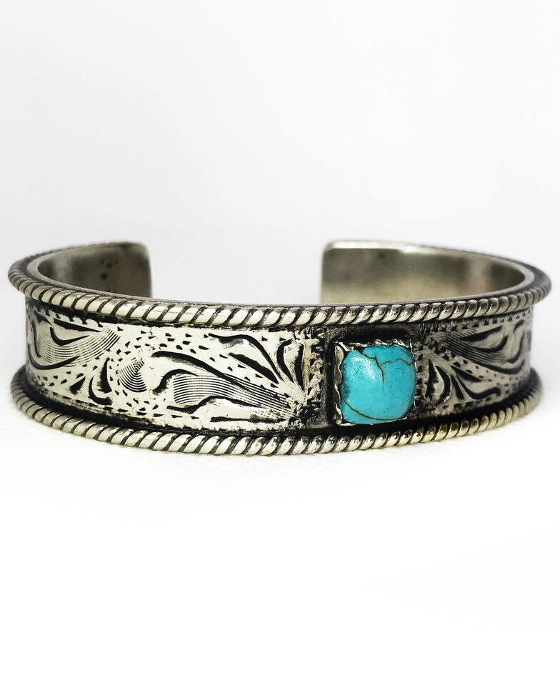 Tres Rios Women's Copper Engraved Turquoise Stone Bracelet, Silver, hi-res