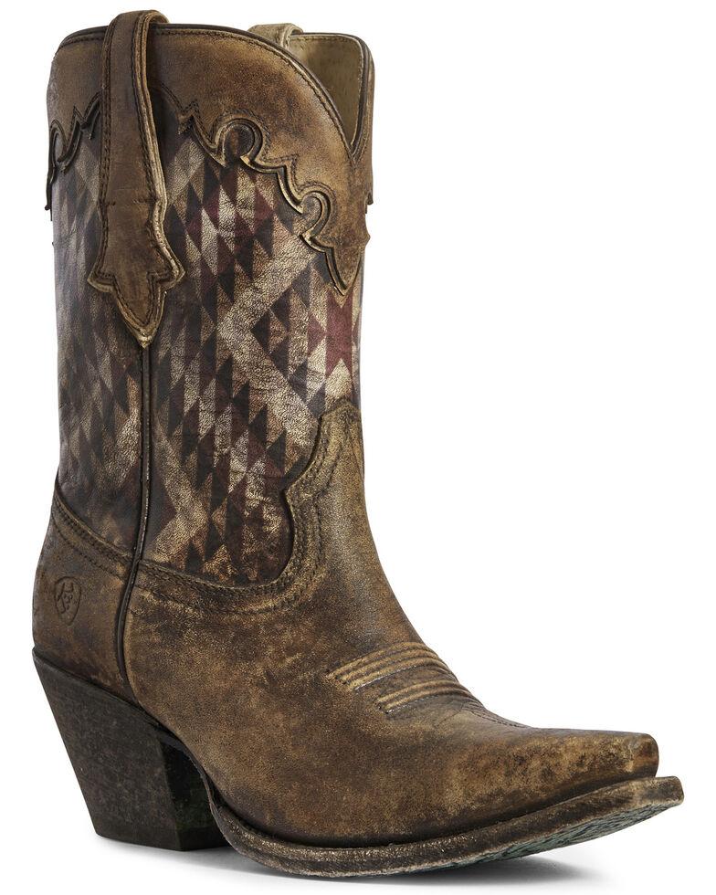 Ariat Women's Gemma Aztec Print Western Boots - Snip Toe, Brown, hi-res