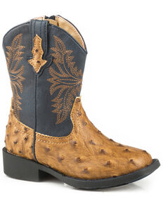 Roper Toddler Boys' Cowboy Cool Faux Ostrich Cowboy Boots - Square Toe, Tan, hi-res