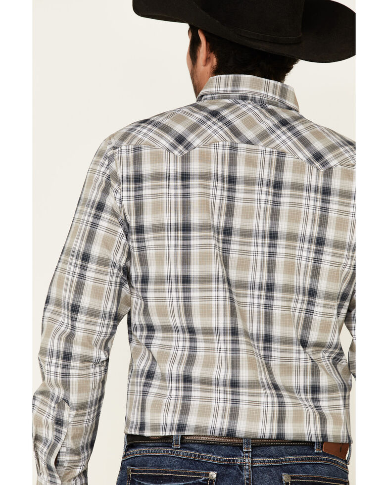 Wrangler Retro Men's Black Med Plaid Long Sleeve Snap Western Shirt - Tall , Black, hi-res