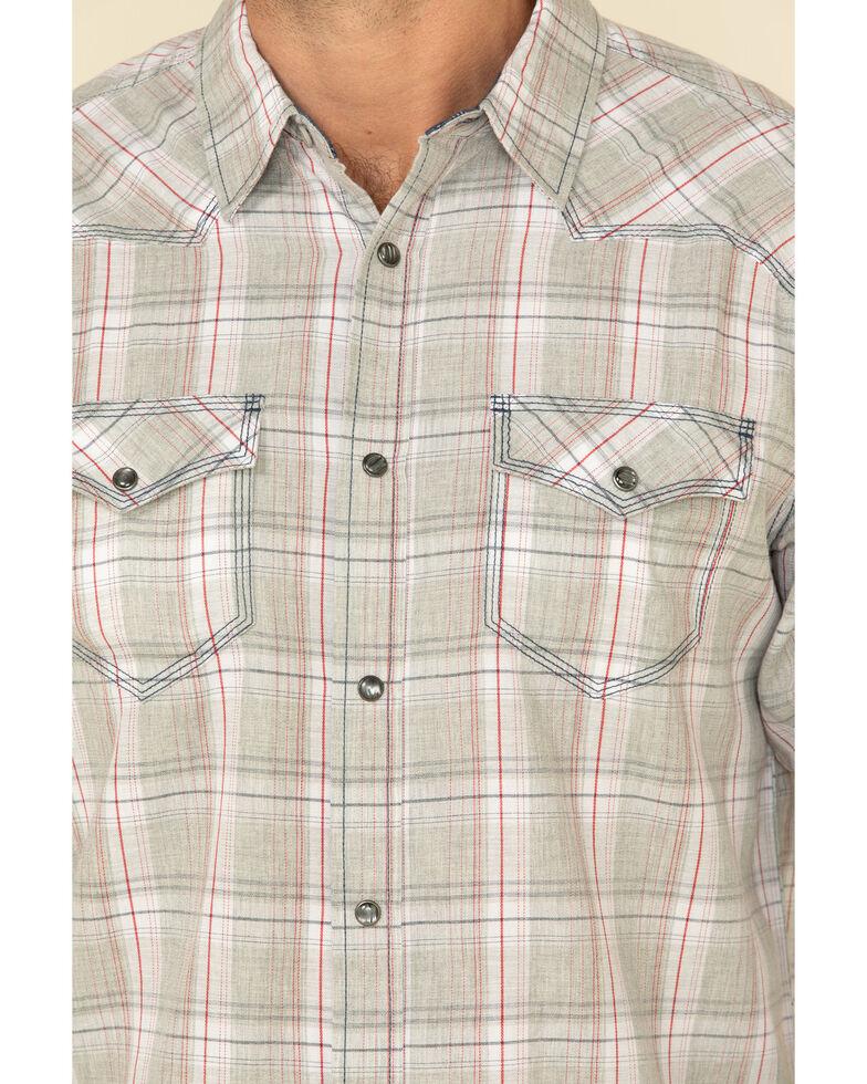 Moonshine Spirit Men's Spaced Out Plaid Long Sleeve Western Shirt , Grey, hi-res