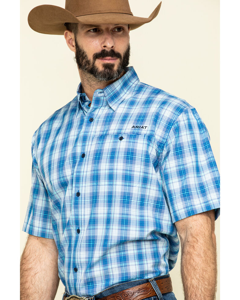 Ariat Men's VentTek Light Blue Plaid Short Sleeve Western Shirt , Light Blue, hi-res