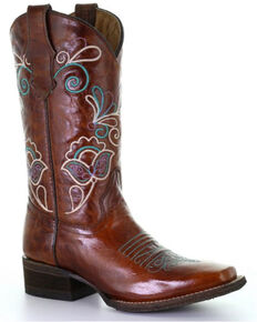 Corral Girls' Shedron Floral Western Boots - Square Toe, Red, hi-res