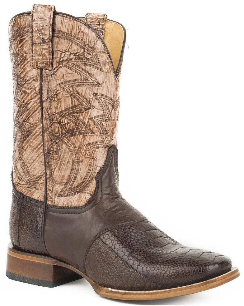 Roper Men's Brown Deadwood Ostrich Leg Boots - Square Toe, Brown, hi-res