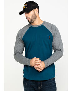 Hawx® Men's Charcoal Baseball Raglan Crew Long Sleeve Work Shirt - Tall , Charcoal, hi-res