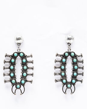 Shyanne Women's Isla Jane 360 Turquoise Squash Blossom Earrings, Turquoise, hi-res