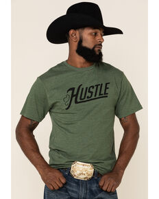 HOOey Men's Olive Hustle Graphic T-Shirt , Green, hi-res