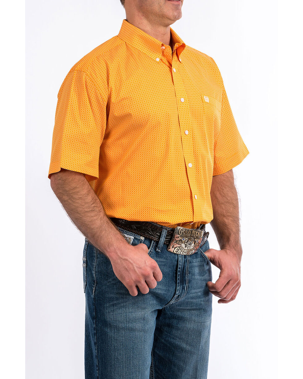 Cinch Men's Orange Geo Print Short Sleeve Western Shirt , Orange, hi-res