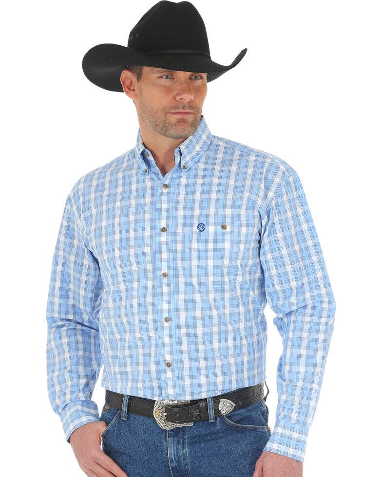 George Strait by Wrangler Men's Blue Poplin Plaid Button Long Sleeve Western Shirt , Blue, hi-res