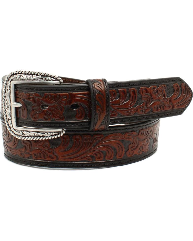 Ariat Men's Black and Brown Embossed Leather Western Belt, Black/tan, hi-res