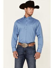 Panhandle Select Men's Solid Blue Poplin Long Sleeve Button-Down Western Shirt , Blue, hi-res